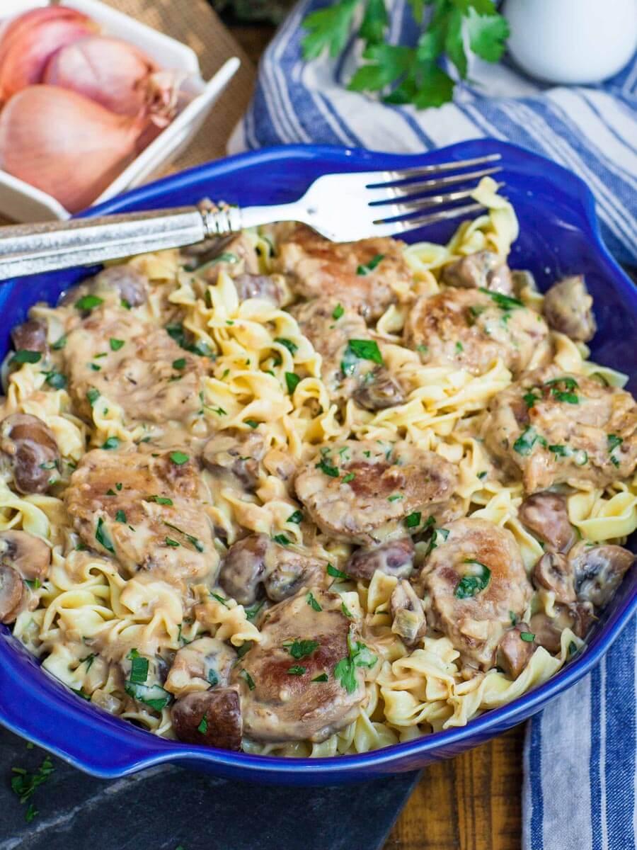 creamy marsala noodles with pork tenderloin