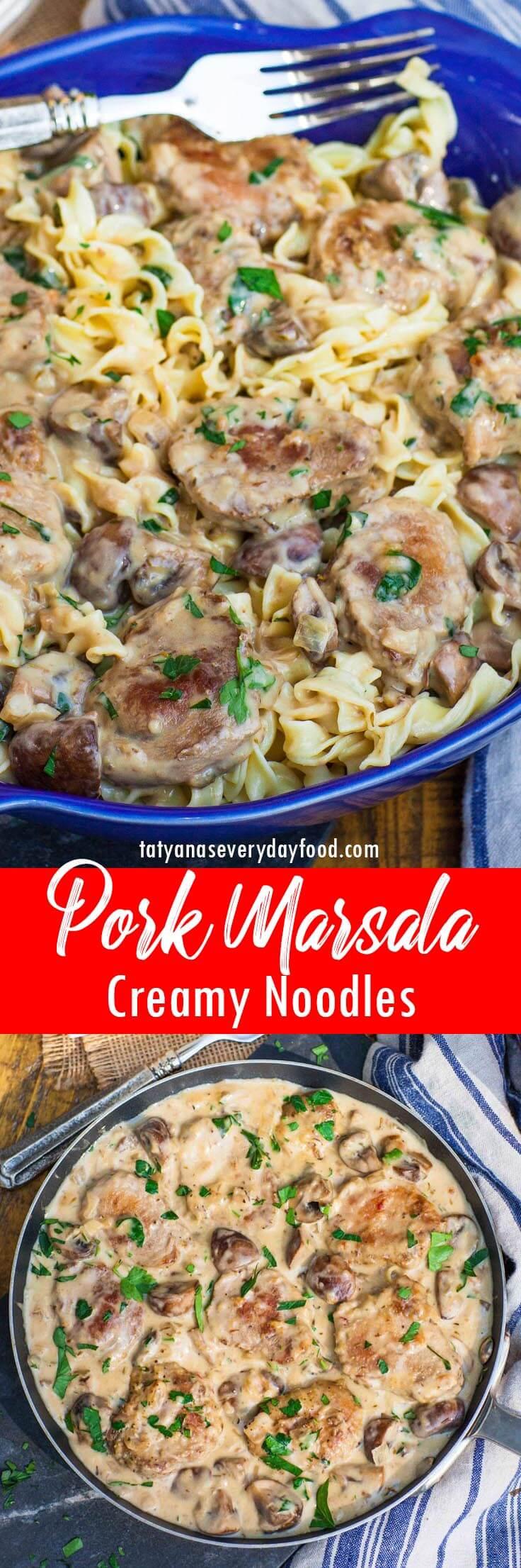 Creamy Pork Marsala Noodles video recipe