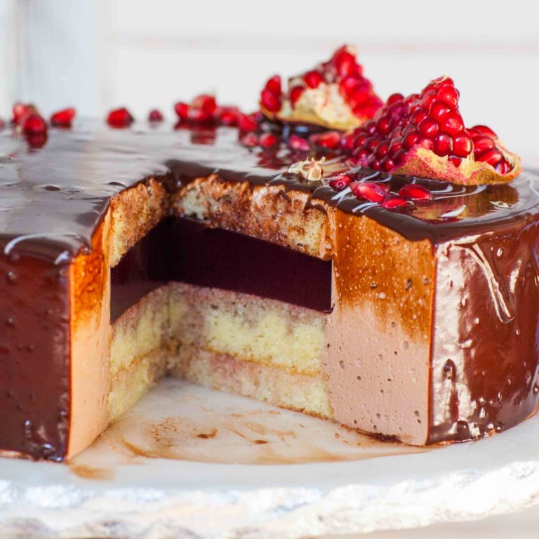 chocolate mousse cake with pomegranate center