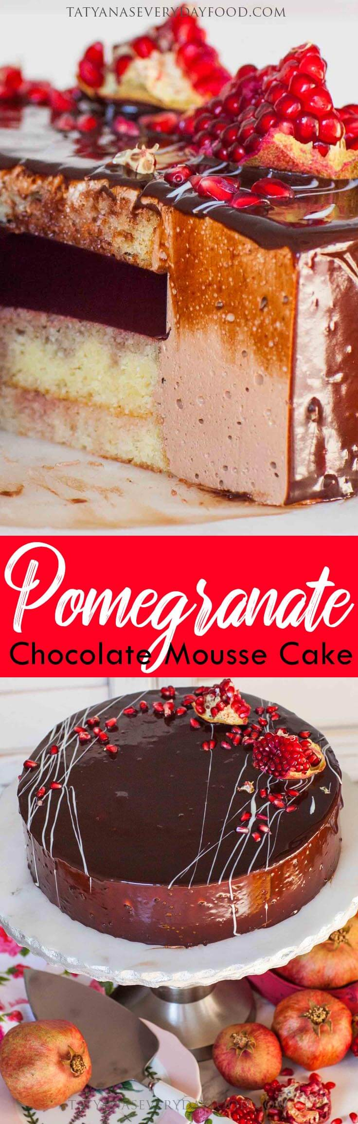 Pomegranate Chocolate Mousse Cake video recipe