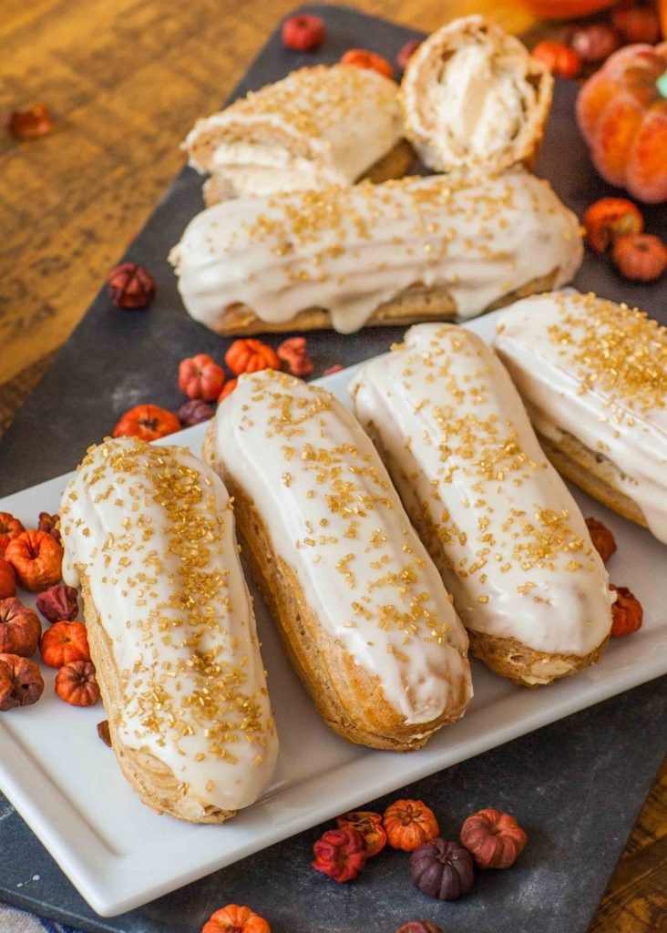 maple pumpkin eclairs with maple glaze