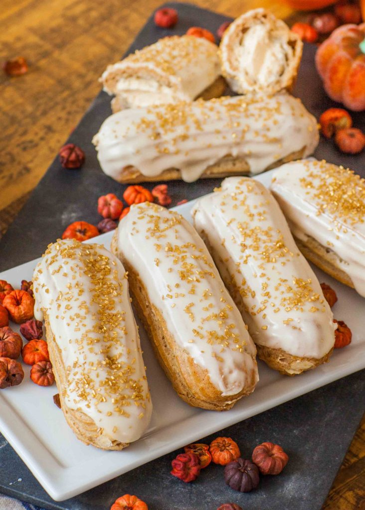 maple pumpkin eclairs with maple glaze