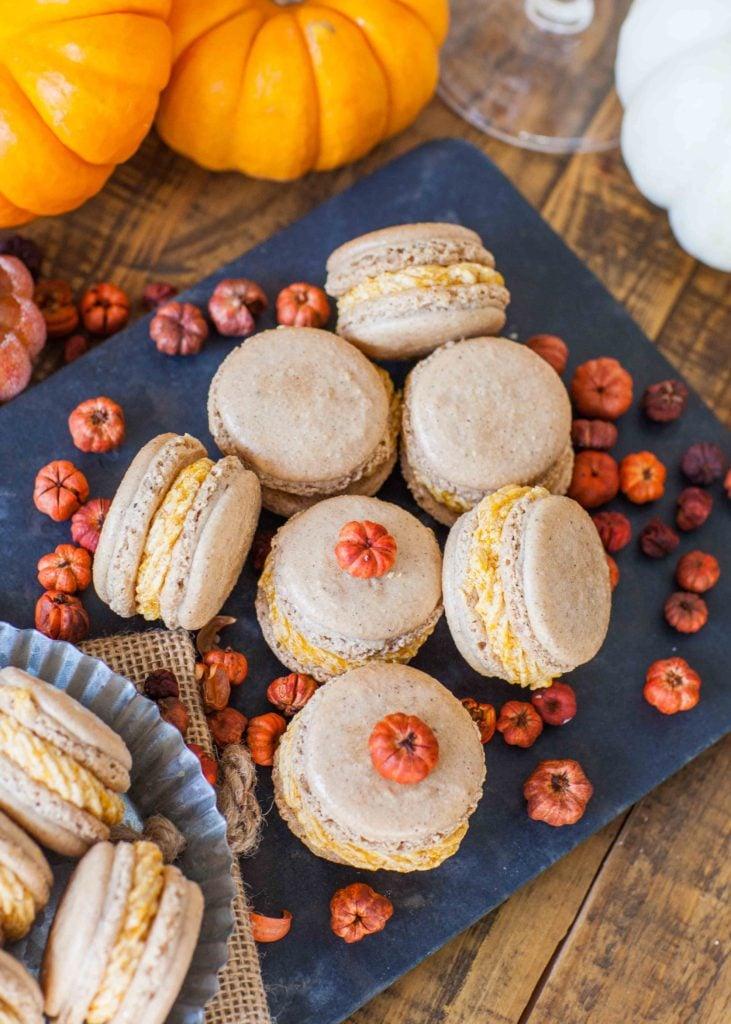 pumpkin macarons with mini pumpkins
