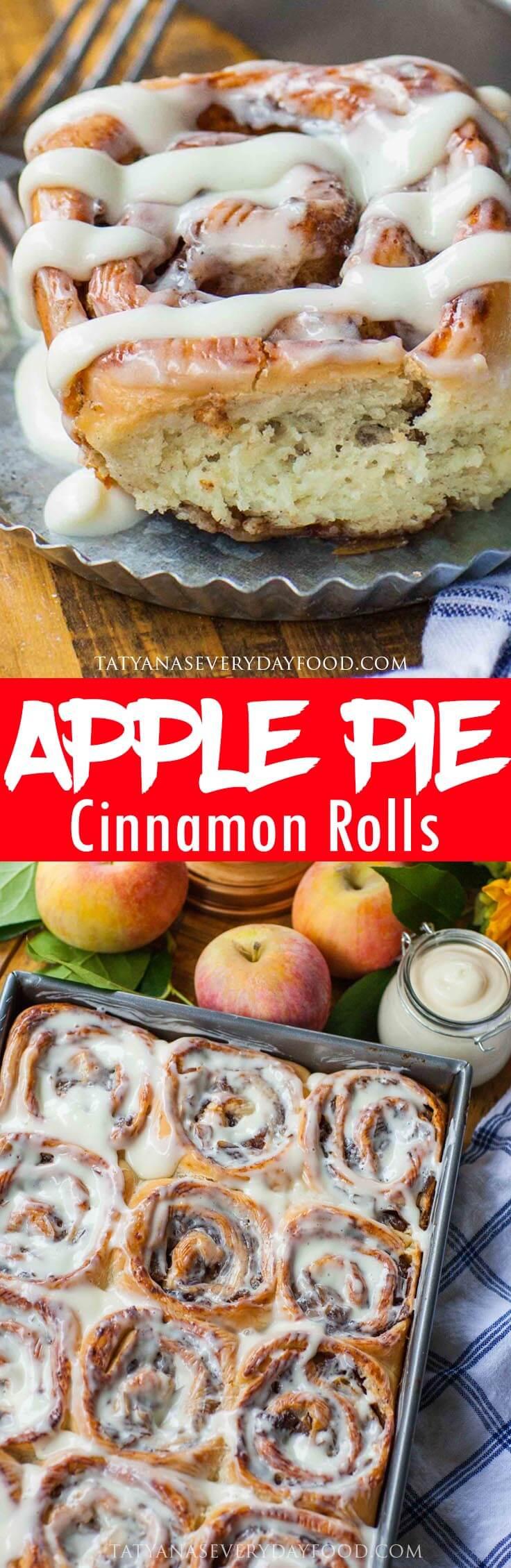 Apple Cinnamon Rolls with cream cheese icing