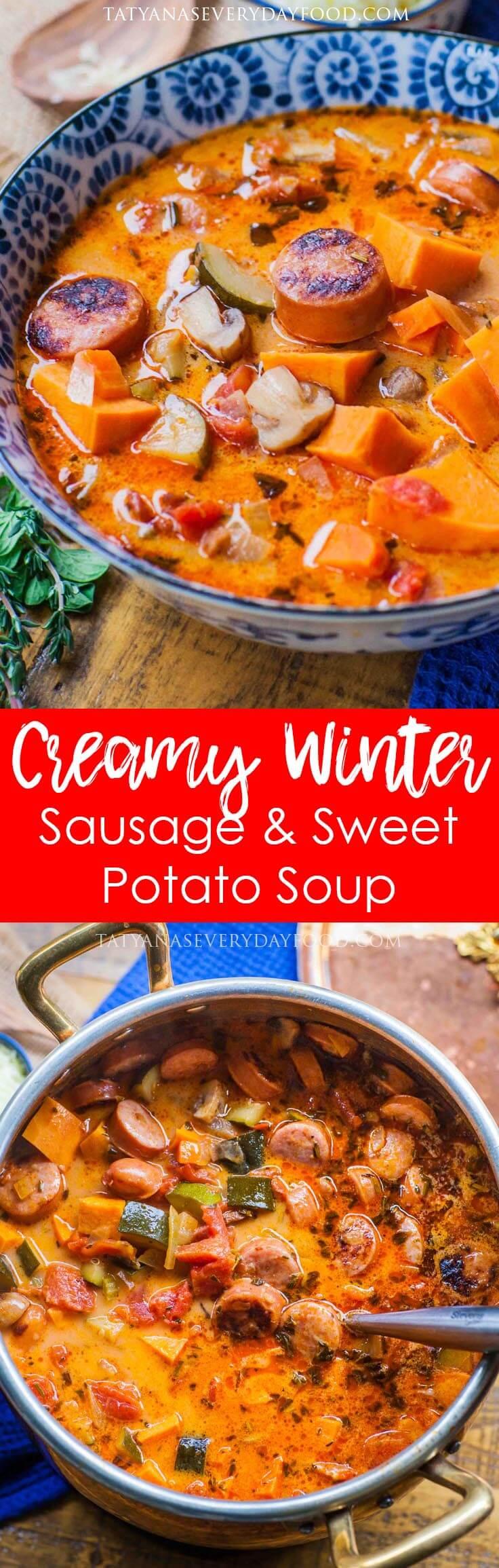 Creamy Sausage & Sweet Potato Soup recipe