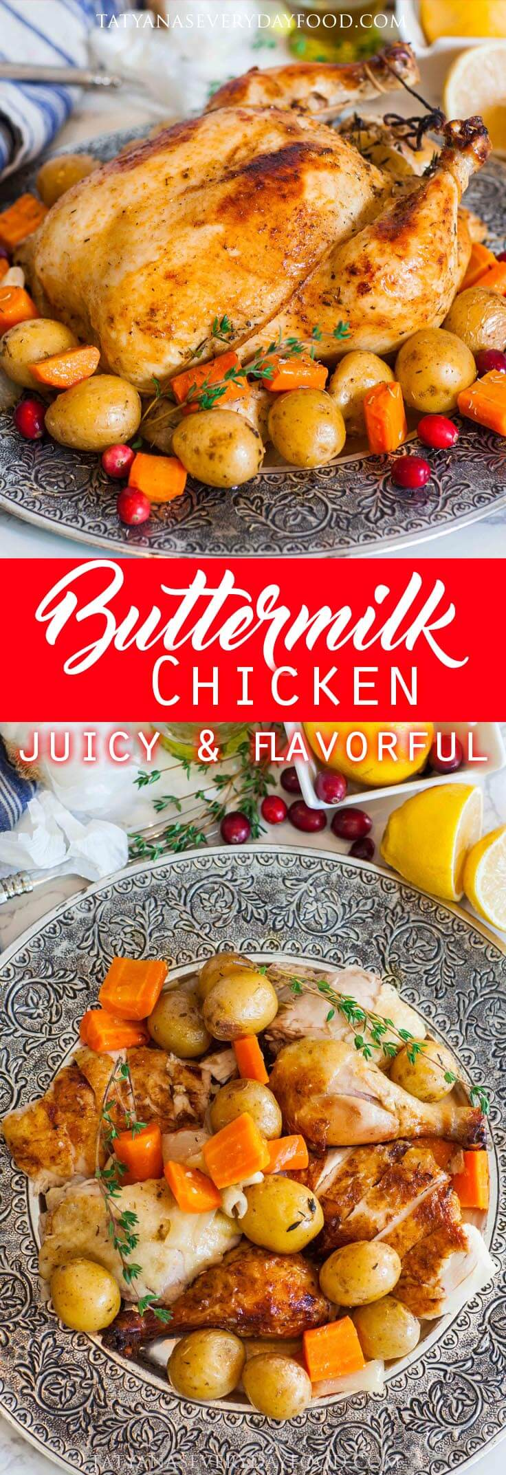 Oven Roasted Garlic Buttermilk Chicken with potatoes