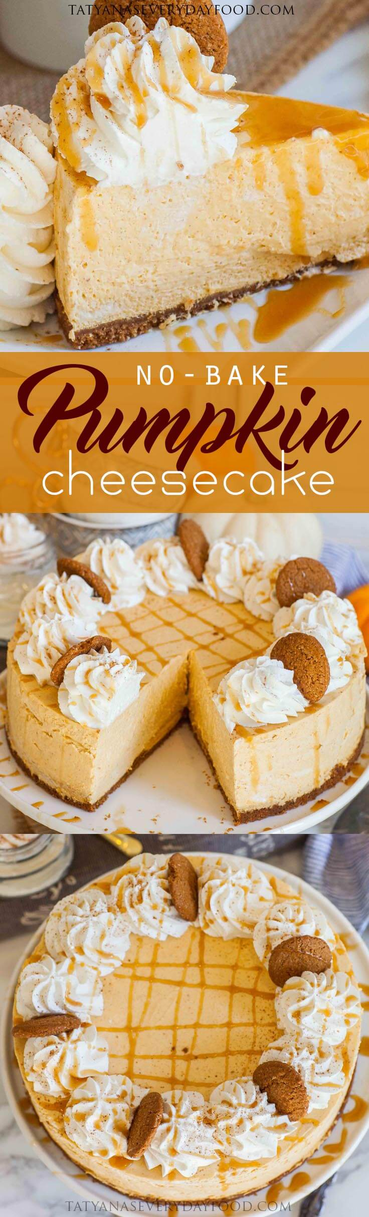 No Bake Pumpkin Cheesecake for Thanksgiving with video recipe