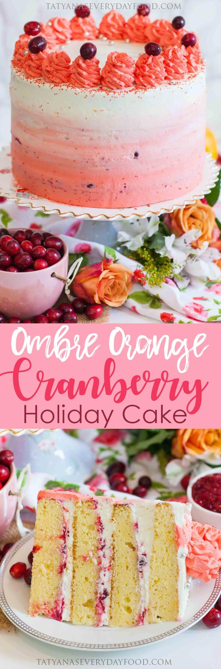 Ombre Orange Cranberry Cake with video recipe