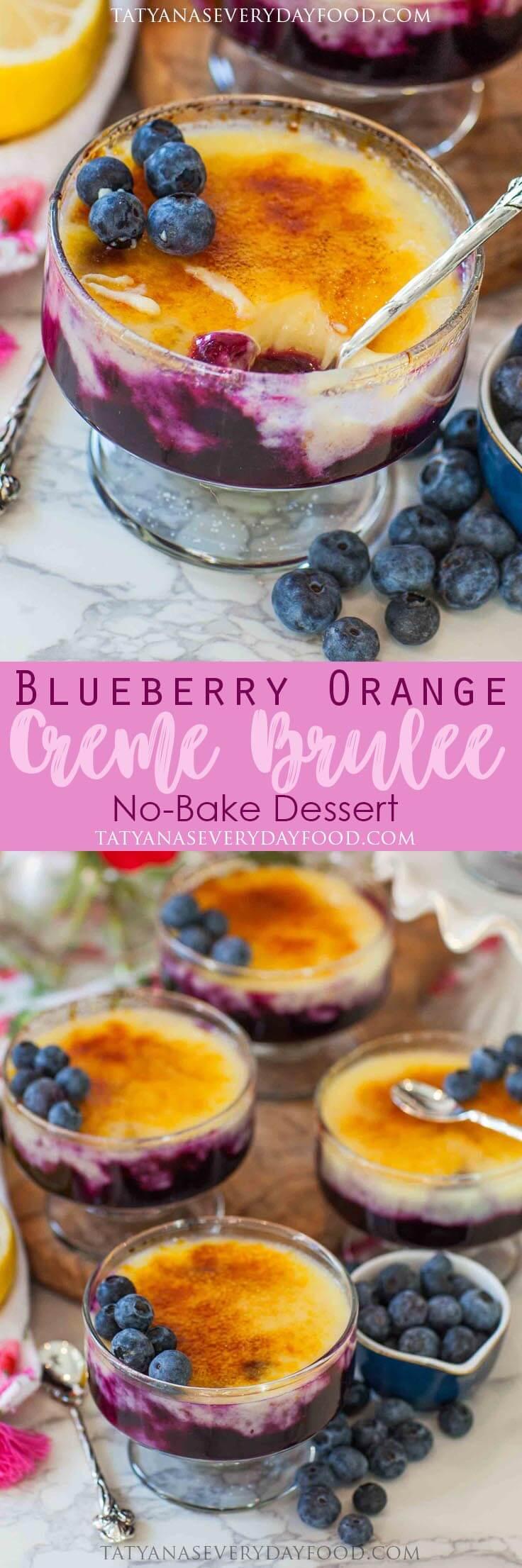 No-Bake Blueberry Orange Creme Brulee Recipe with video