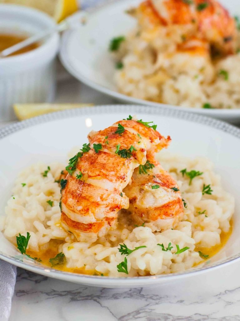 Butter Poached Lobster Tails With Easy Risotto Recipe Tatyanas Everyday Food