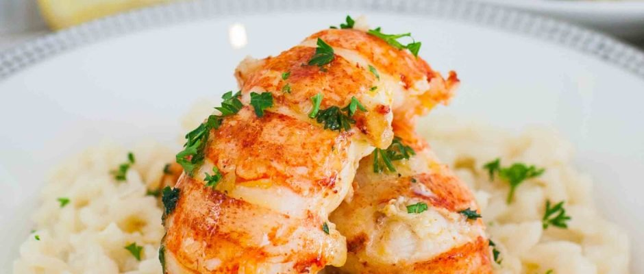 Butter Poached Lobster with Simple Risotto