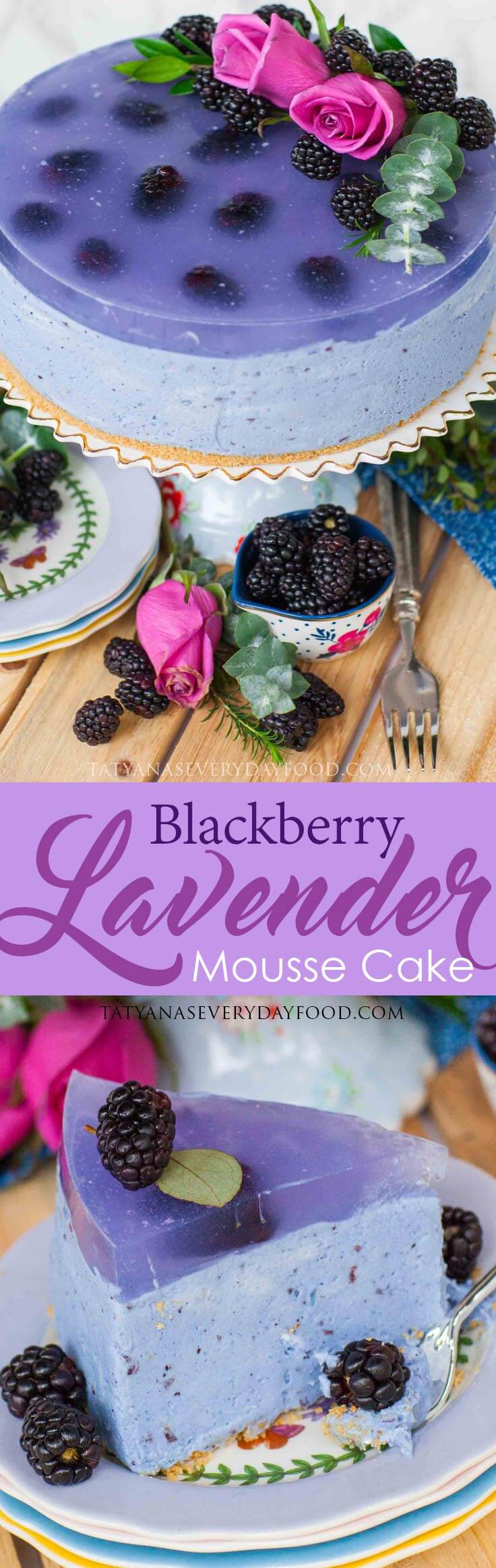 No-Bake Blackberry Lavender Mousse Cake recipe with video