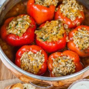 meat and rice stuffed peppers