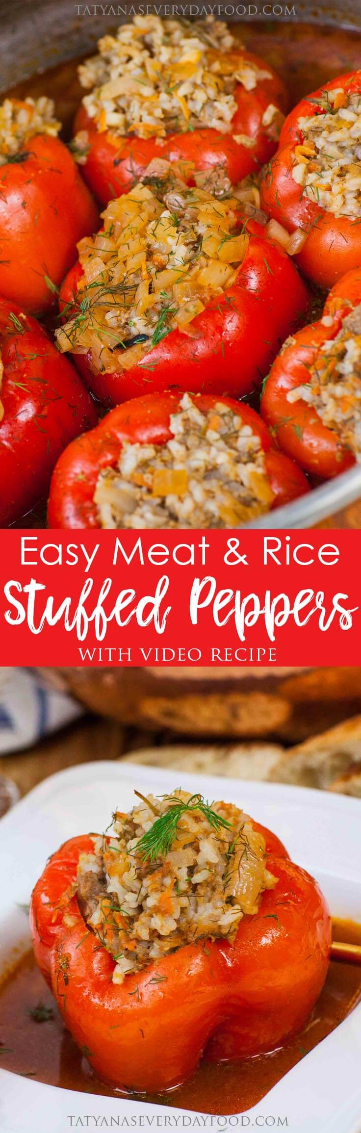 Easy Beef & Rice Stuffed Peppers with video recipe