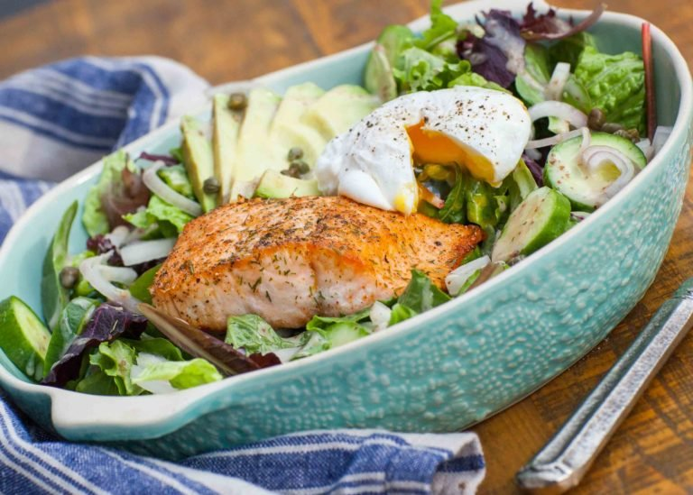 Keto salad recipe with poached egg and salmon