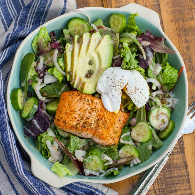 Salmon Seafood Salad with poached egg and avocado