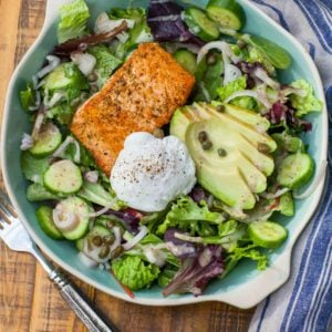 keto salmon salad with egg and avocado