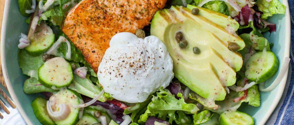 Keto Avocado, Egg and Salmon Salad