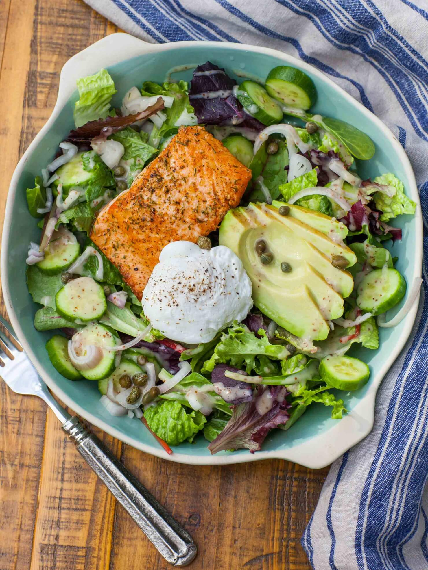 keto salmon salad with egg and avocado