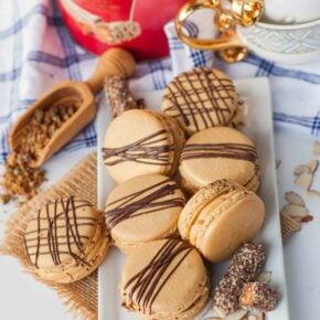 Almond Roca macaron recipe with caramel filling