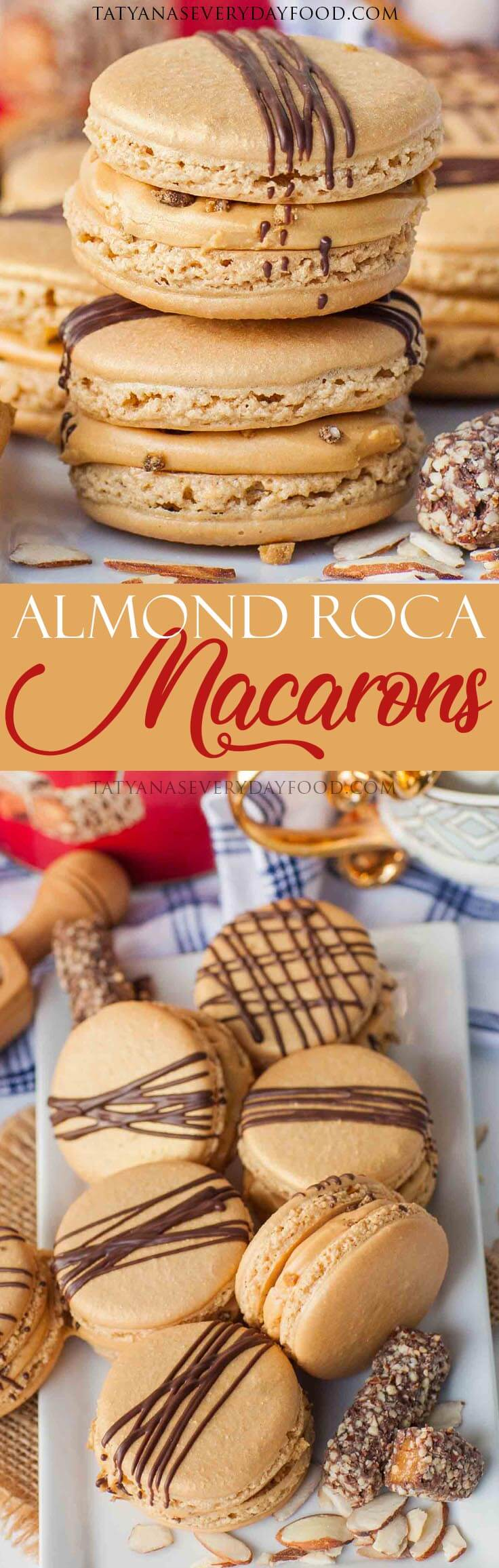 Almond Roca Macarons recipe with video