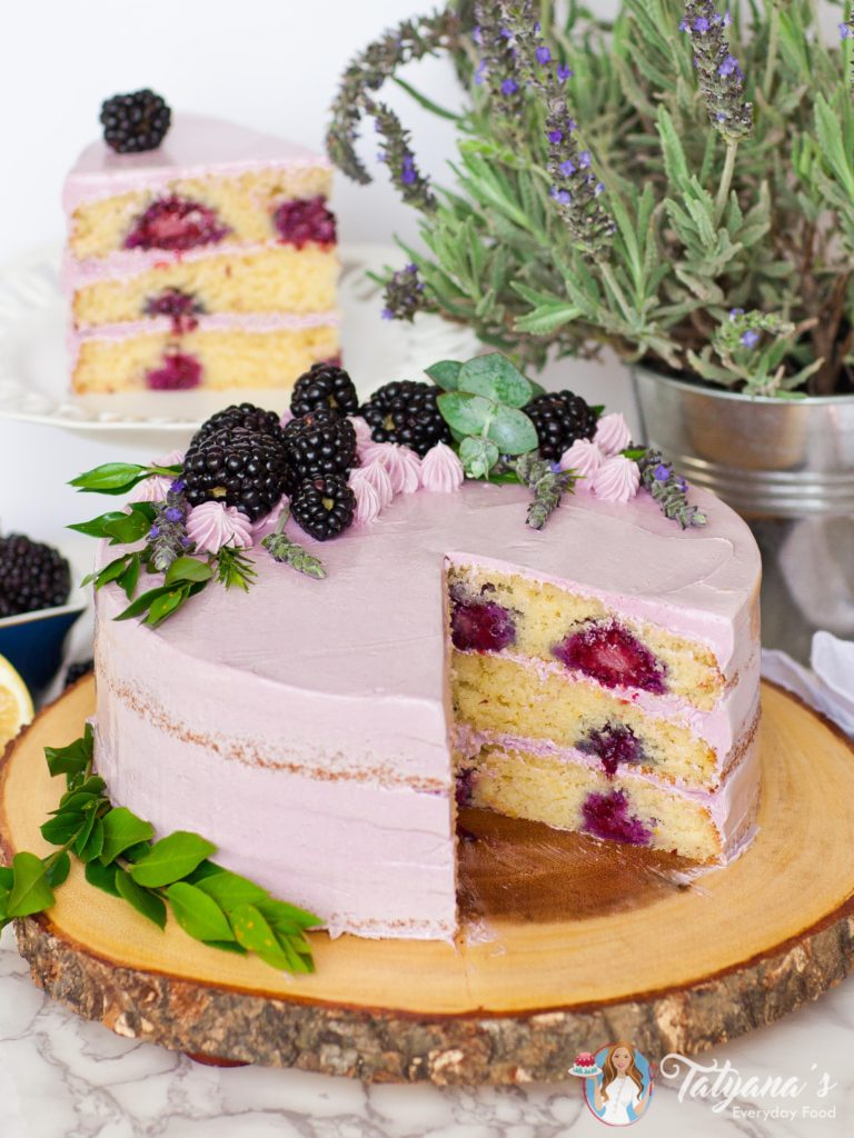 Lemon Lavender Blackberry Cake