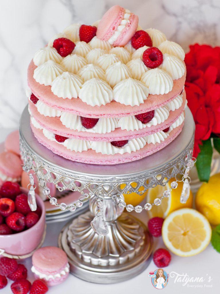 Raspberry Lemon Macaron Cake