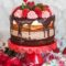 Chocolate Tuxedo Cake with strawberries for Valentine's Day