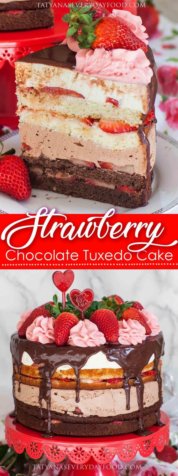Strawberry Chocolate Tuxedo Cake Recipe with video