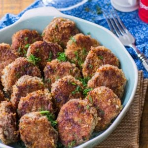 Juicy beef cutlets with fresh dill