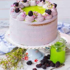 Blackberry Lime Cake with blackberries