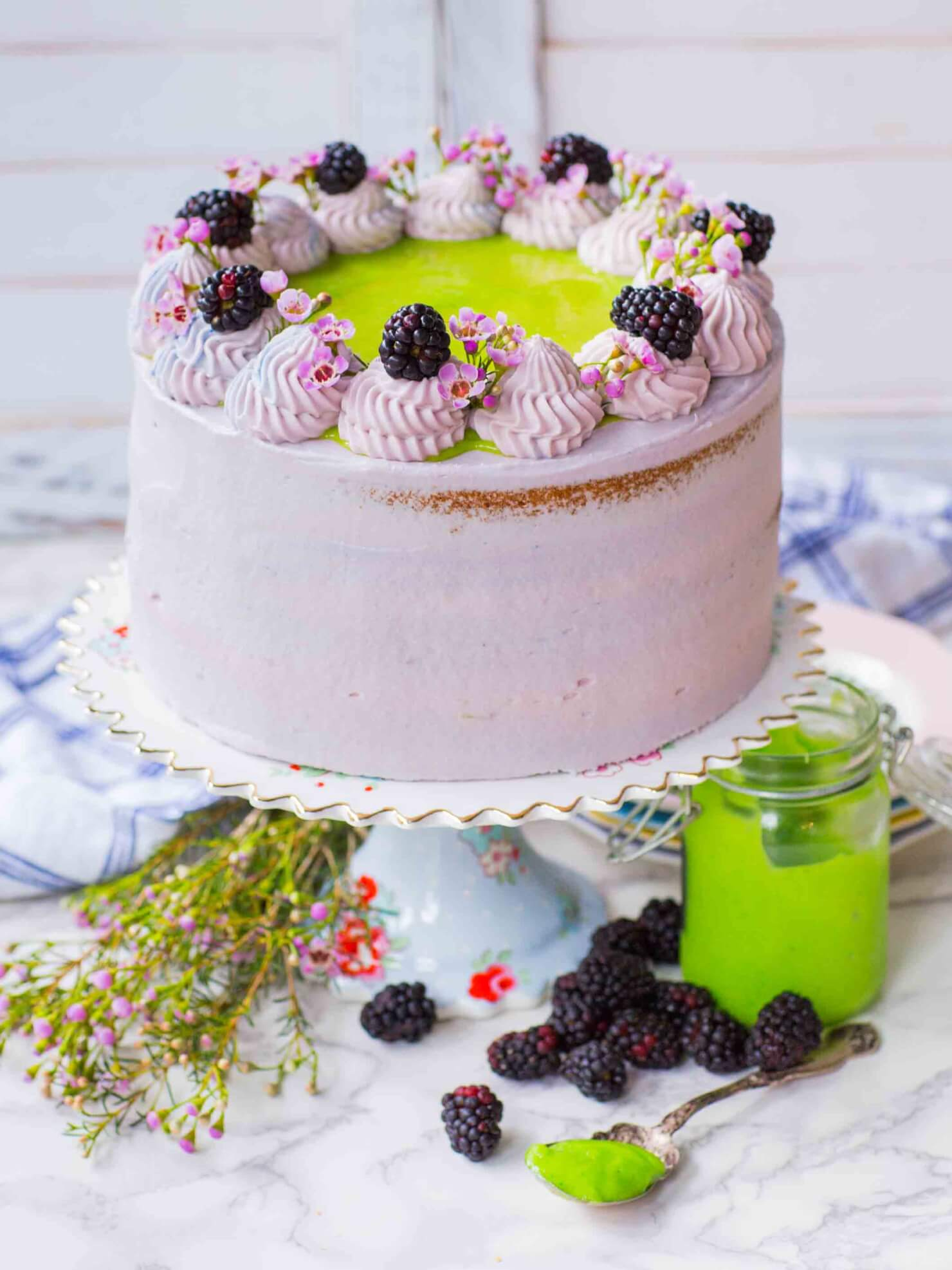 Blackberry Lime Cake with blackberries