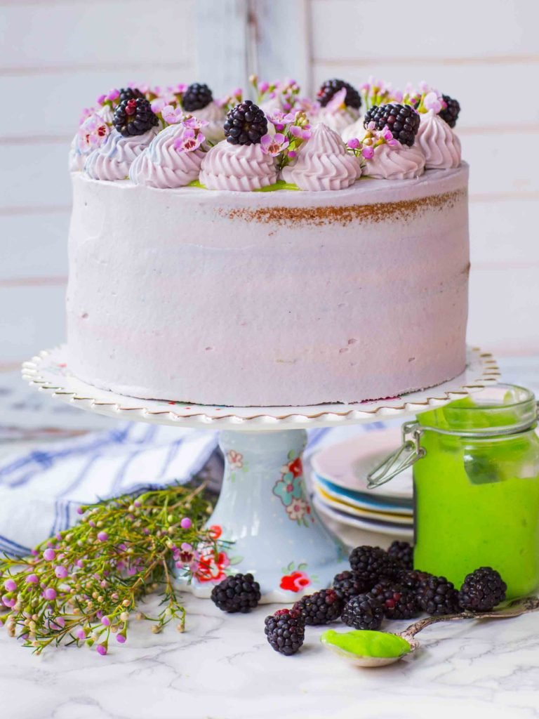 Blackberry Cake with blackberry frosting