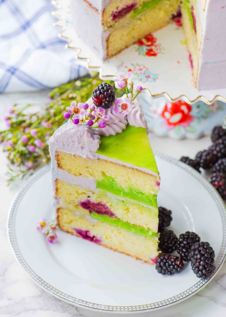 blackberry cake slice with lime curd filling