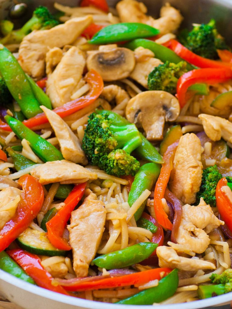 vegetable stir fry with teriyaki sauce and chicken and noodles