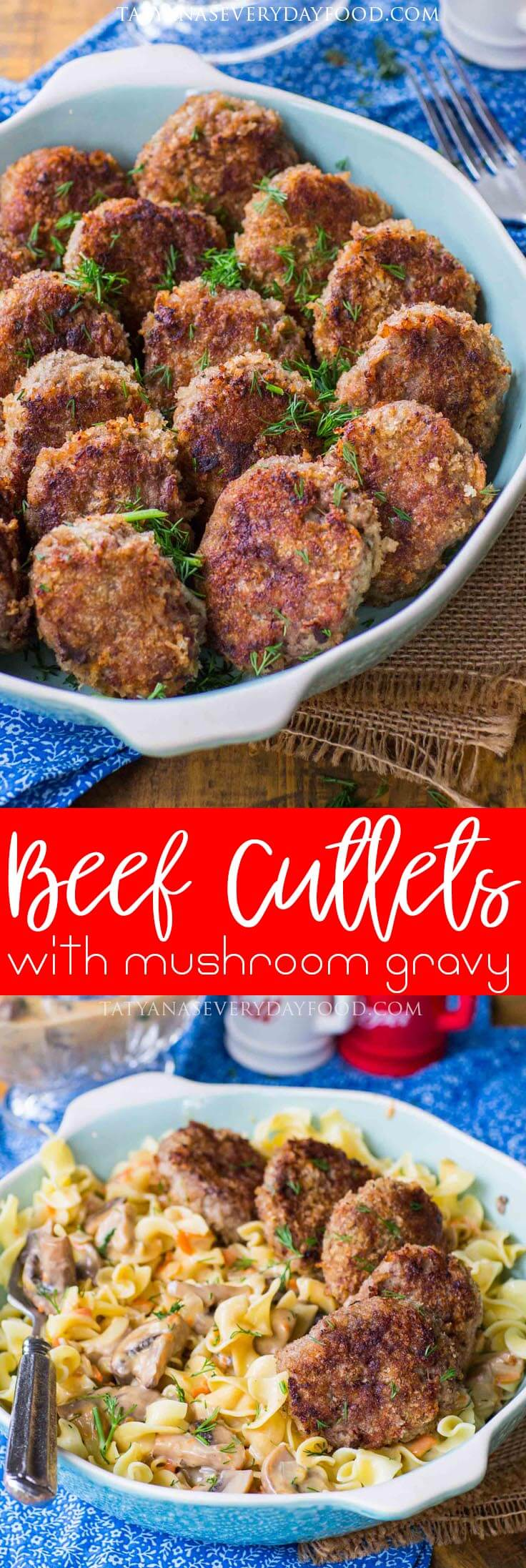 Juicy Beef Cutlets Recipe with mushroom gravy (video recipe)