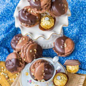 hazelnut macarons with ferrero rocher