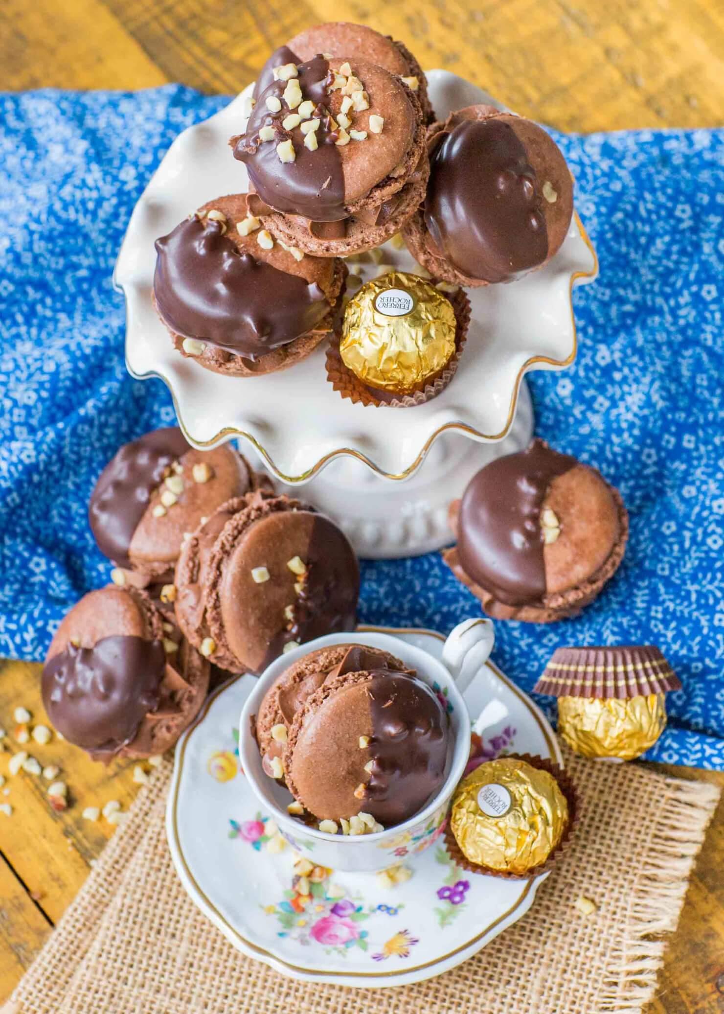 hazelnut chocolate macarons with ferrero rocher