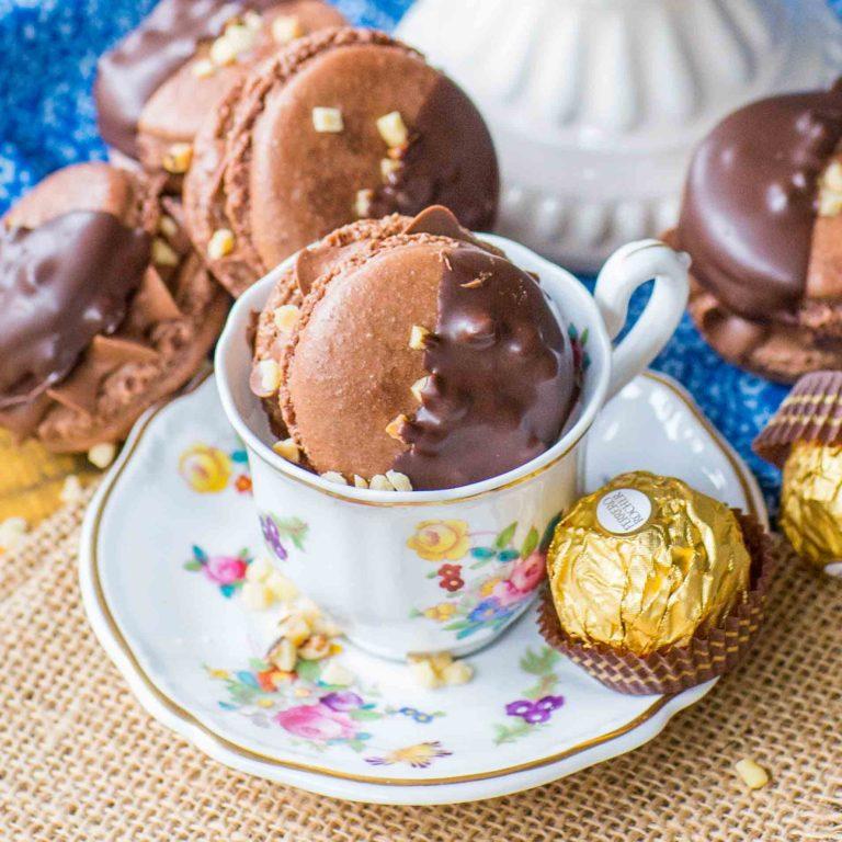 chocolate french macarons recipe with Ferrero Rocher