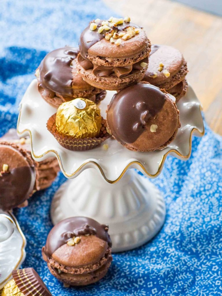 Ferrero Rocher macarons recipe dipped in chocolate