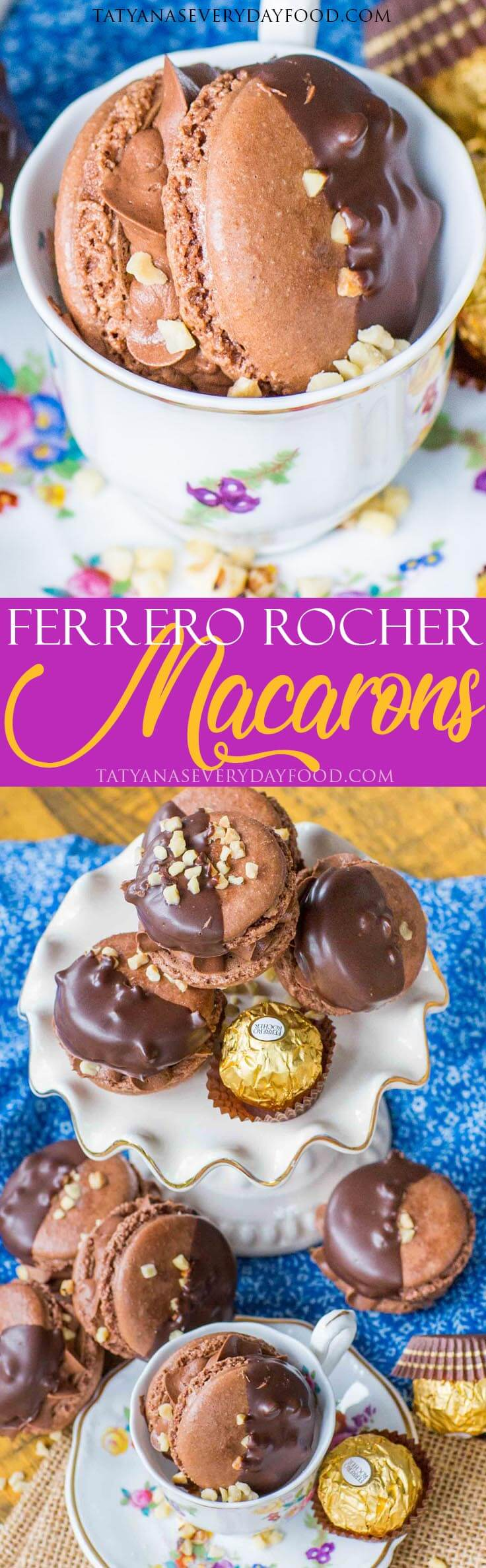 Chocolate Ferrero Rocher French Macarons with video recipe