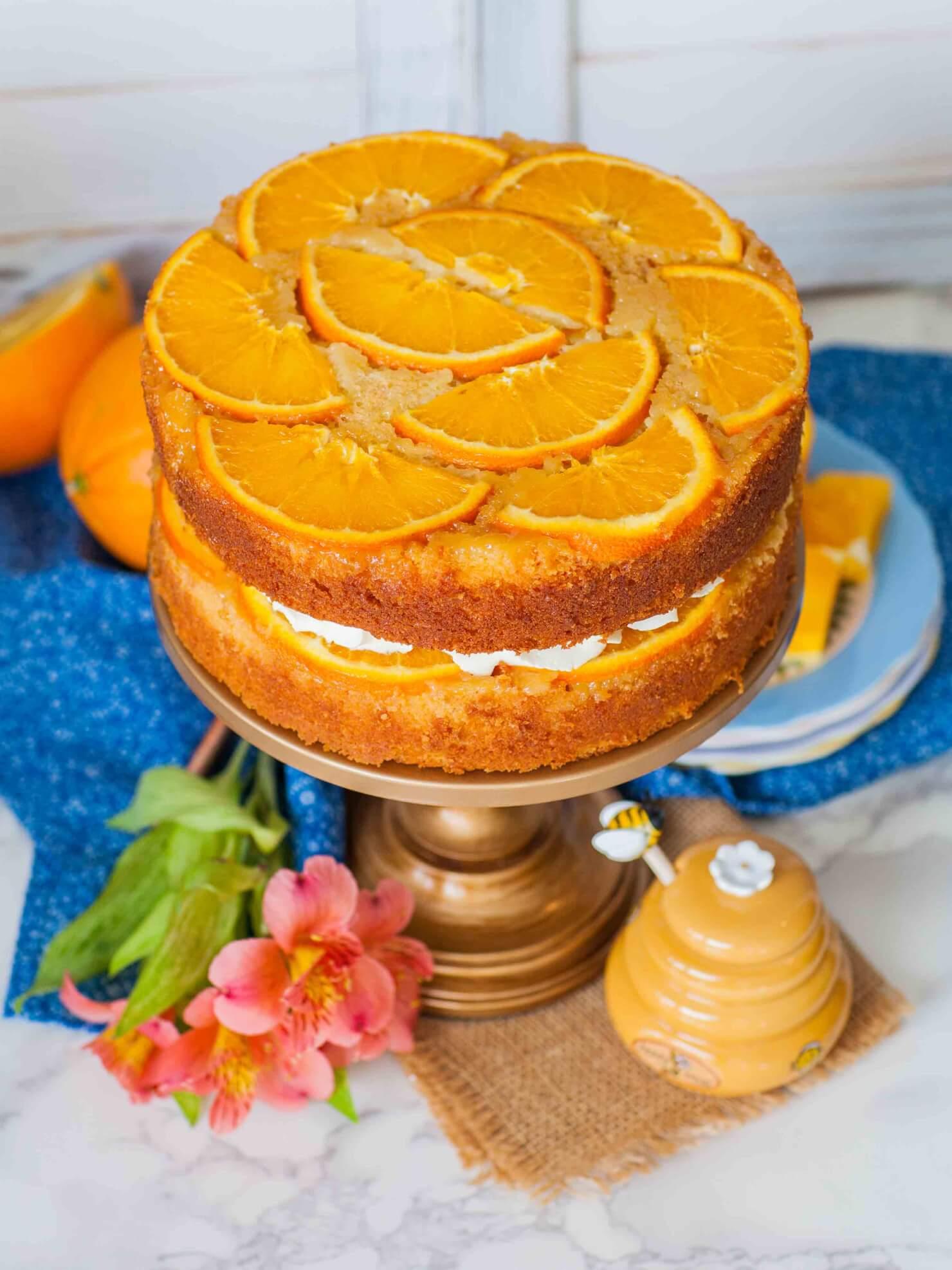 upside down cake with orange slices