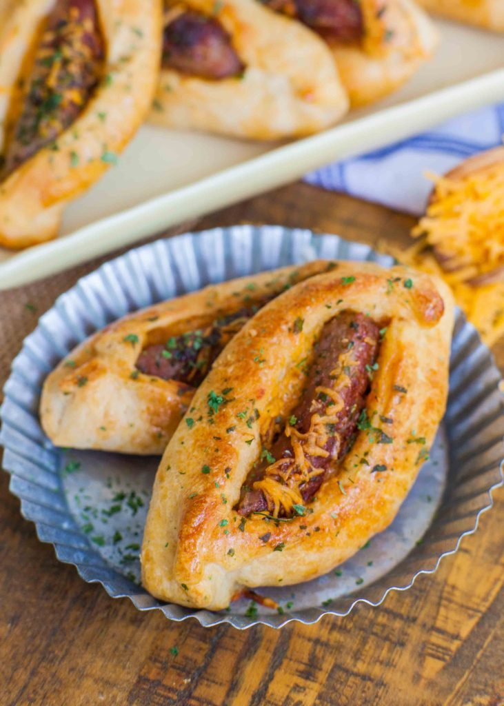 savory croissant with cheese and sausage