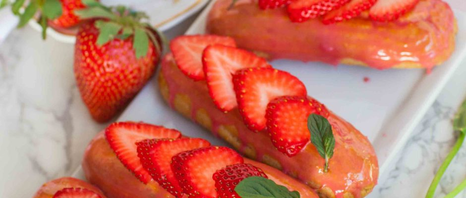 Strawberry Basil Eclairs