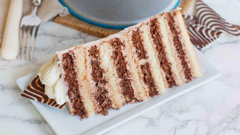12 layer chocolate cake slice with chocolate buttercream