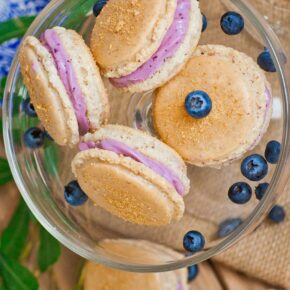 cheesecake macarons with blueberry cream cheese filling