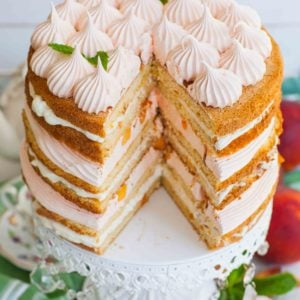 sliced peach cake with fresh peaches