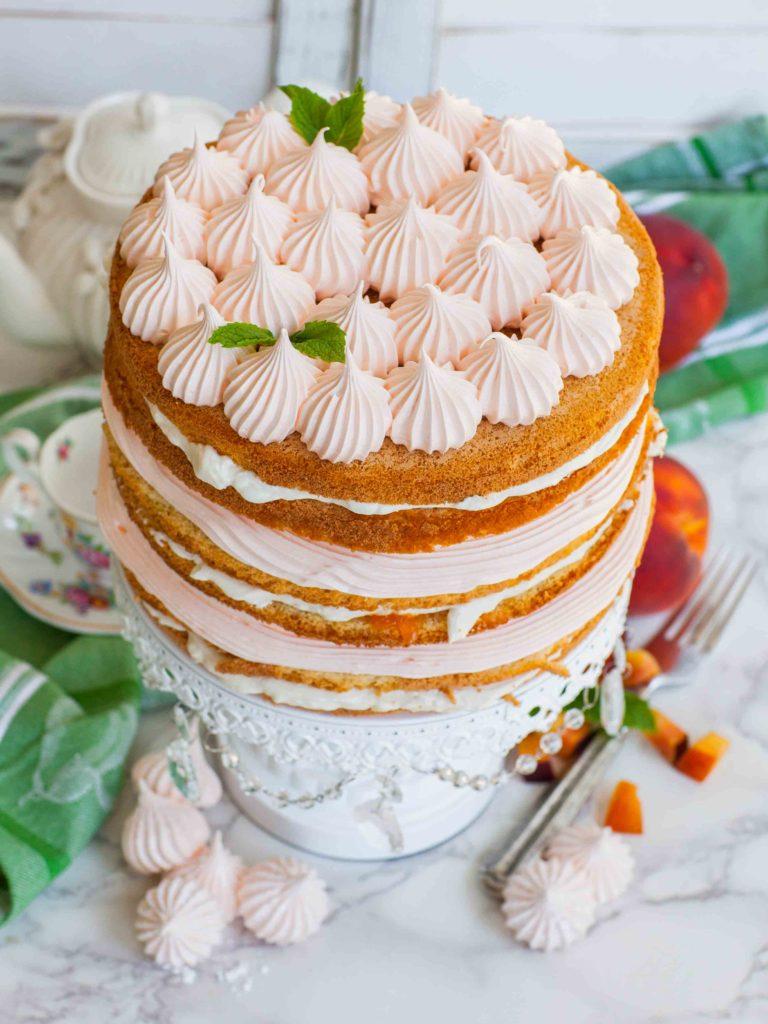 peach cake, sponge cake, cake recipe, peaches and cream, whipped cream, video recipe