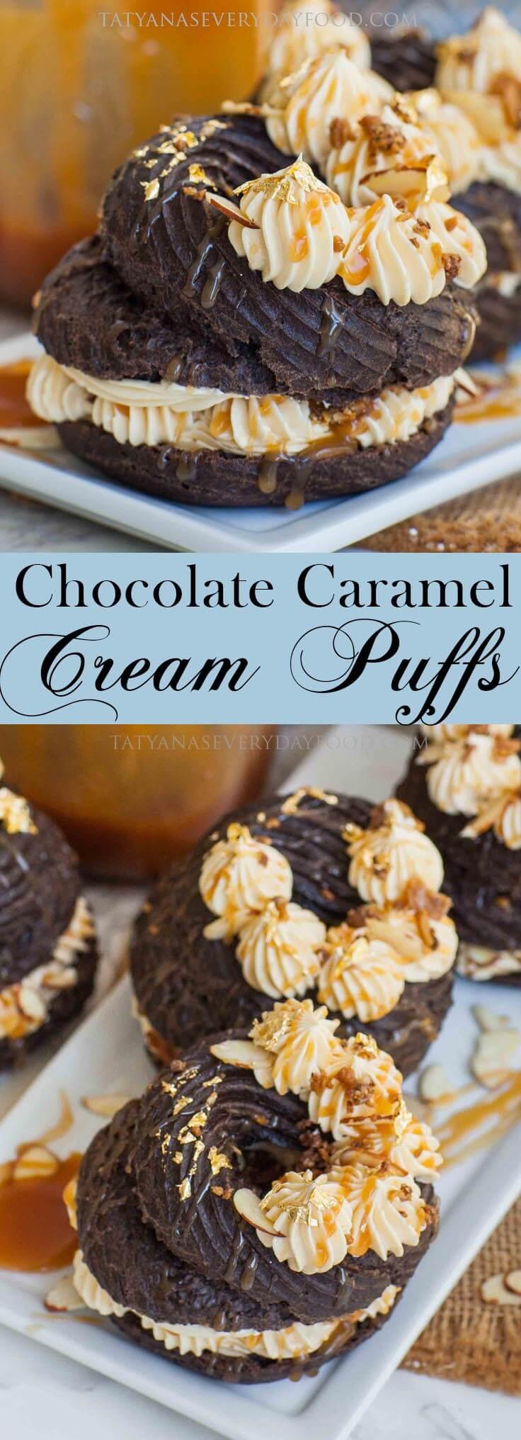 Fancy Caramel Chocolate Cream Puffs recipe with caramel filling
