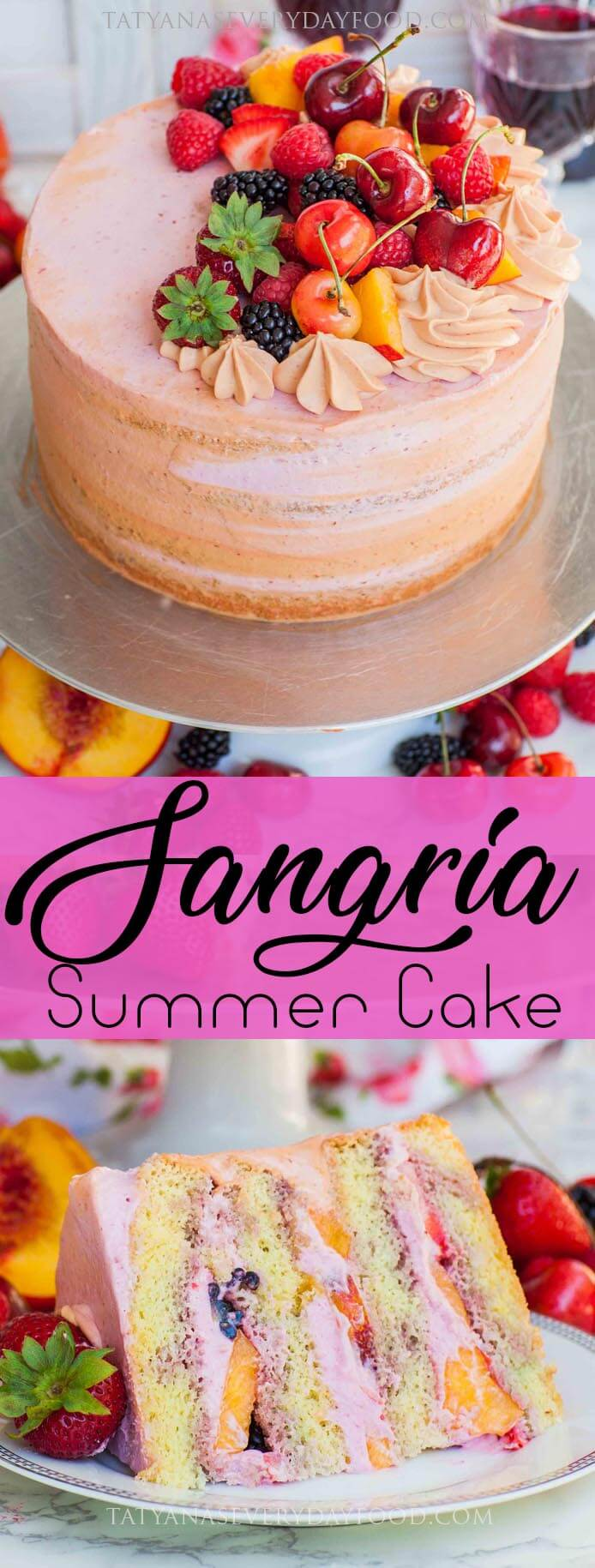 Sangria Cake with fresh fruit and whipped cream frosting